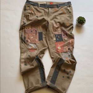Anthro Pilcro Patchwork & Paint Splatter Chinos